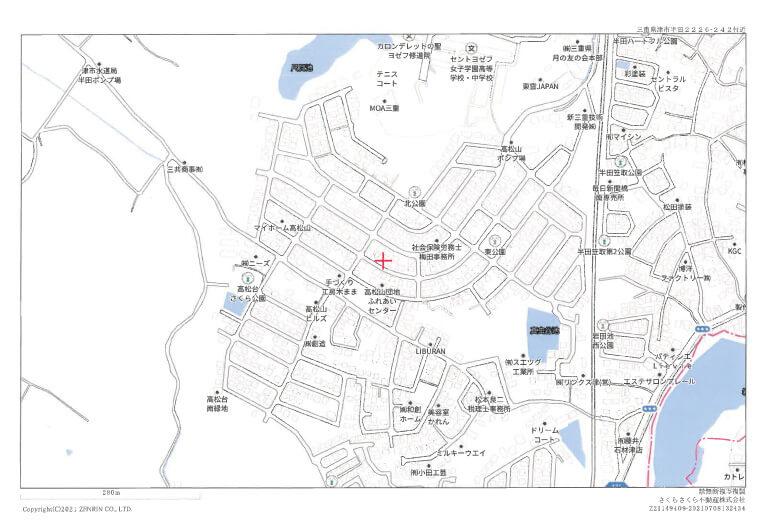 地図(津市半田の中古住宅)